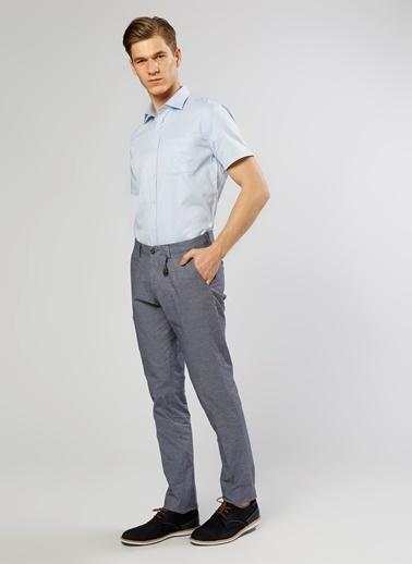 Cotton Bar Kısa Kollu Klasik Gömlek Mavi